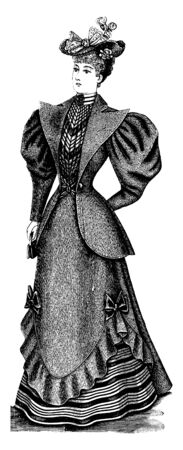 A woman in late 19th century outfit, vintage line drawing or engraving illustration