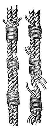 Seizing is a class of knots used to bind two parts of the same rope or to another object, vintage line drawing or engraving illustration. Illustration