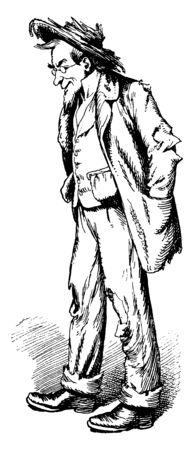 A man in ragged clothes, vintage line drawing or engraving illustration Ilustrace