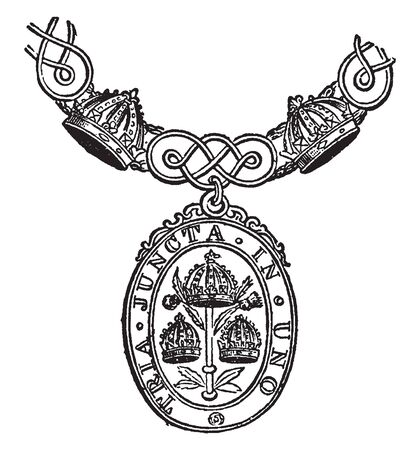 Badge and Order of Bath were required formerly to bathe the evening before their creation, vintage line drawing or engraving illustration.