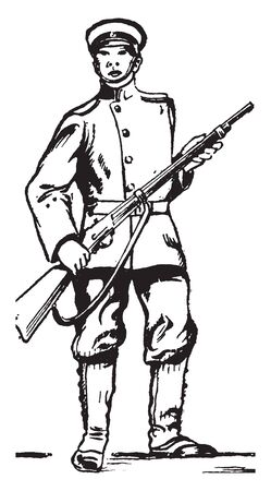This image represents Imperial Japanese soldier, vintage line drawing or engraving illustration. Reklamní fotografie - 133253235