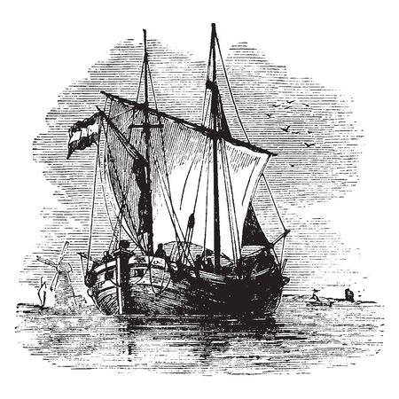 Dutch Dogger used in the North Sea particularly in the cod and herring fisheries, vintage line drawing or engraving illustration. Иллюстрация