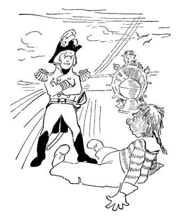 A captain of a ship looking at a man sitting on the deck, vintage line drawing or engraving illustration 写真素材 - 133253236