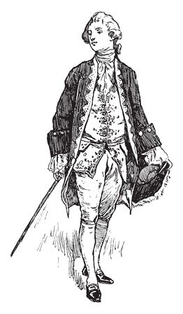 Gentleman Costume during Queen Anne Reign where a man during Queen Anne reign wore, vintage line drawing or engraving illustration.
