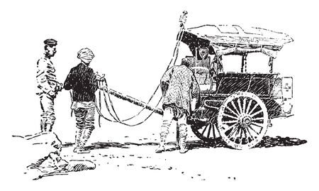 Ambulance which is British Indian galloping ambulance, vintage line drawing or engraving illustration. Çizim