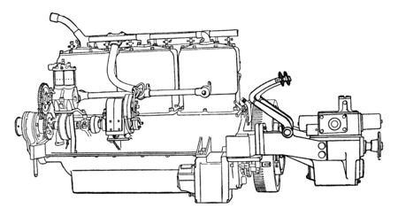 Building an Automobile Step 12 is Transmission makes it possible to reverse the car, vintage line drawing or engraving illustration.