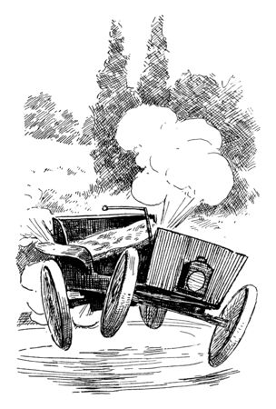 Car Smoking where thick smoke coming out of the exhaust pipe it may be a sign that your engine needs some attention, vintage line drawing or engraving illustration.