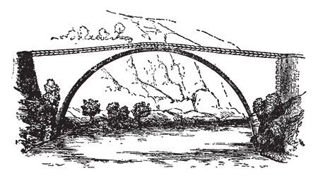 Brioude Bridge is located in France crossing the Allier River and it is a masonry arch bridge with a span of 45 metres, vintage line drawing or engraving illustration.
