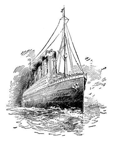 The Olympic eight hundred and eighty two feet long which carries three thousand three hundred and sixty people, vintage line drawing or engraving illustration.