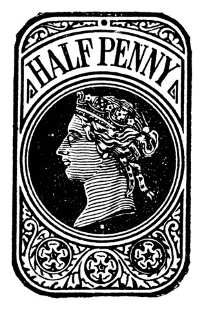 This illustration represents Great Britain and Ireland Half Penny Wrapper in 1870, vintage line drawing or engraving illustration. Ilustrace