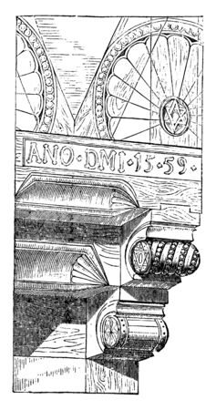 This illustration represents Detail of a Bay work House at Halberstadt, vintage line drawing or engraving illustration.