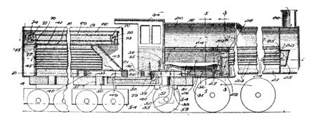 Locomotive Train is a series of connected railroad cars pulled or pushed by one or more locomotives, vintage line drawing or engraving illustration.