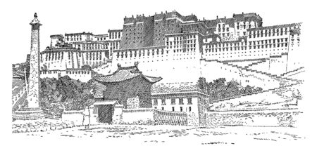 The Potala at Lhasa which is the supreme head of Tibetan Buddhists occupies an enormous palace on the Potala hill at Lhasa, vintage line drawing or engraving illustration. 일러스트