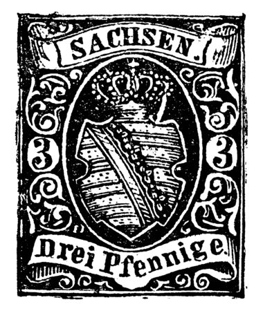 Saxony Drei Pfennige Stamp in 1851 which is known as Sachsen in German and Sakska in Sorbian, vintage line drawing or engraving illustration. Standard-Bild - 132857432