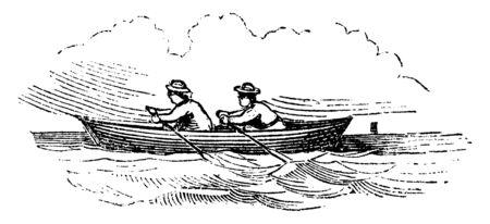 La barque est un petit bateau propulsé par des rames, un dessin de ligne vintage ou une illustration de gravure. Vecteurs