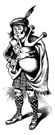 A man with feathered hat playing bagpipes, vintage line drawing or engraving illustration Vector Illustration