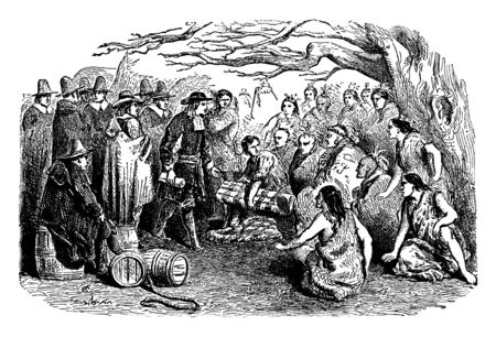 William Penn Purchasing Land from the proprietors of Pennsylvania and the Lenape ,vintage line drawing or engraving illustration. Banco de Imagens - 132858976
