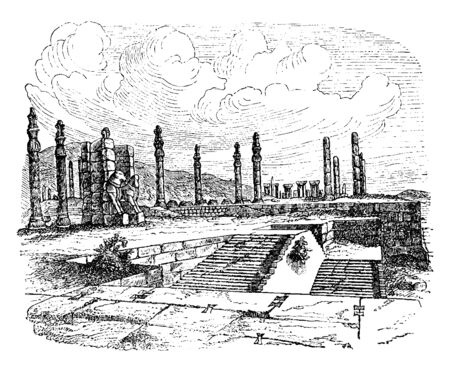 Ruins of Persepolis was the ceremonial capital of the Persian Empire during the Achaemenid dynasty, vintage line drawing or engraving illustration. Stock fotó - 133253341