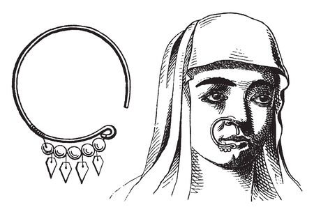Nose ring where Israeli women would often wear rings not just on their wrists, vintage line drawing or engraving illustration.