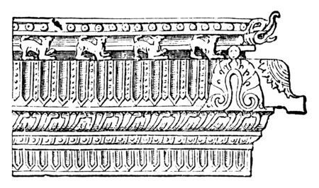 Pagoda Moulding which are separated by curved roofs and terminate above in the from of a cupola, vintage line drawing or engraving illustration. Illustration