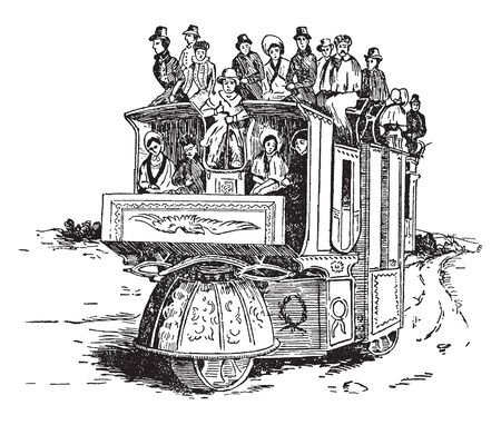 Three Wheeled Coach shows the forward spring wheel that is mounted on the steering pivot, vintage line drawing or engraving illustration.