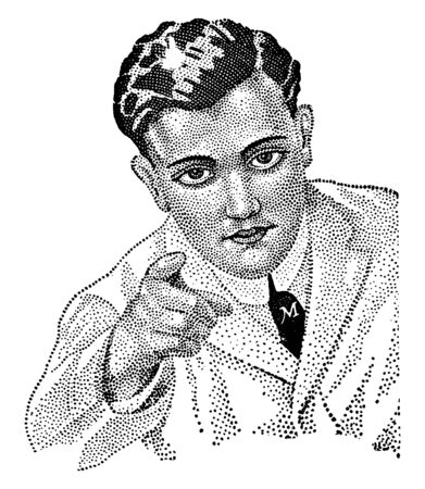A man looking directly forward and pointing, vintage line drawing or engraving illustration