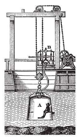 Diving Bell shaped chamber filled with compressed air to allow divers to surface underwater, vintage line drawing or engraving illustration. Illustration