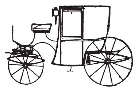 Brougham was a light four wheeled horse drawn carriage built in the 19th century, vintage line drawing or engraving illustration.