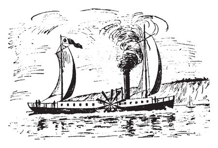 Clermont where Robert Fulton steamboat on the Hudson River in 1807, vintage line drawing or engraving illustration.