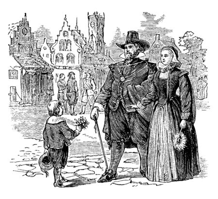 A dutch family walking in colonial America, vintage line drawing or engraving illustration. Stock Illustratie