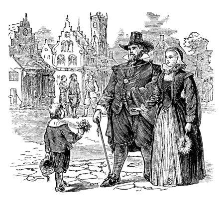 Eine niederländische Familie, die im kolonialen Amerika spaziert, Vintage-Linien-Zeichnung oder Gravierillustration.