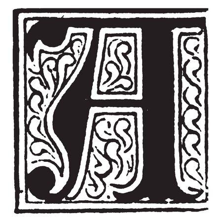 A capital letter A with potted plant, vintage line drawing or engraving illustration Ilustração