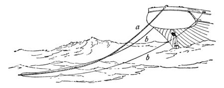 Hawser Rudder is a nautical term for a thick cable or rope used in mooring or towing a ship, vintage line drawing or engraving illustration.