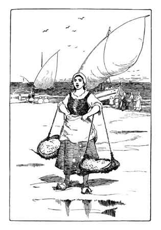 A woman catching live sardines, vintage line drawing or engraving illustration