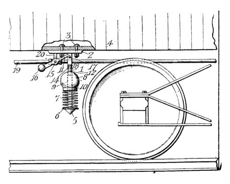 Air Brake is a conveyance braking system actuated by compressed air, vintage line drawing or engraving illustration. Illustration