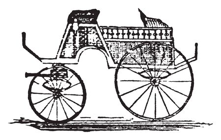 Dog cart is a one horse vehicle for sportsmen used to carry dogs for hunting in an open space behind, vintage line drawing or engraving illustration.