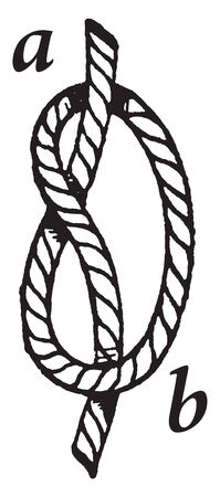 Overhand Knot is one of the most fundamental knots and it forms the basis of many others, vintage line drawing or engraving illustration. Иллюстрация