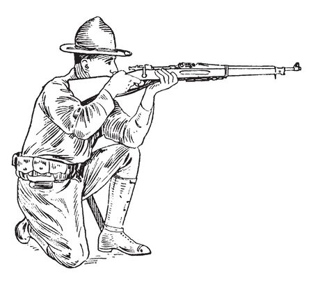 A soldier with rifle sitting on knees and looking through the notch of the rear sight so as to perceive the object aimed at it, vintage line drawing or engraving illustration