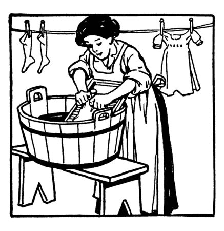 A woman washing clothes on washboard and clothes hanging on rope in background, vintage line drawing or engraving illustration 矢量图像