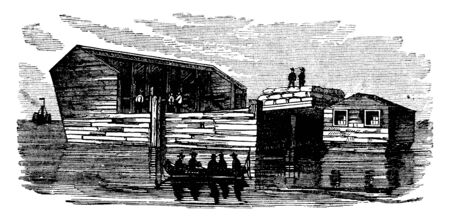 Floating Battery at Charleston debuted during the weeks after South Carolina secession, vintage line drawing or engraving illustration.