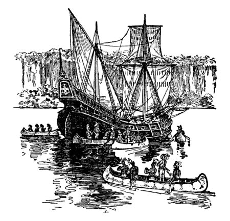 Half Moon which is Henry Hudson ship Half Moon on the Hudson River in New York, vintage line drawing or engraving illustration.