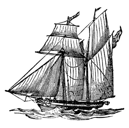 Schooner Ship is a small fast sailing sharp built vessel with two mass and the principals sails of the fore and aft type, vintage line drawing or engraving illustration. Vector Illustration