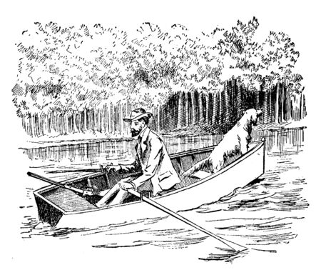 A man with dog traveling in a canoe, vintage line drawing or engraving illustration