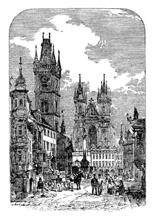 View in Prague is a prosperous well built city near the Centre of the kingdom, vintage line drawing or engraving illustration.