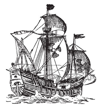 Gondola is a small long narrow boat with a high bow and stern best known for its use in the canals of Venice, vintage line drawing or engraving illustration. Çizim