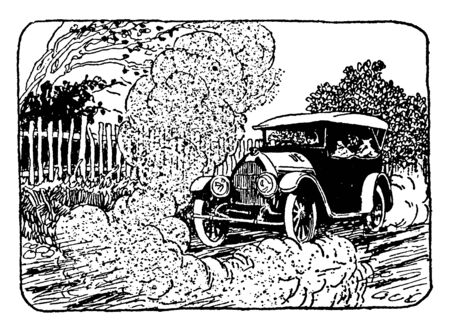 This illustration represents Car on Dry Dusty Street, vintage line drawing or engraving illustration.