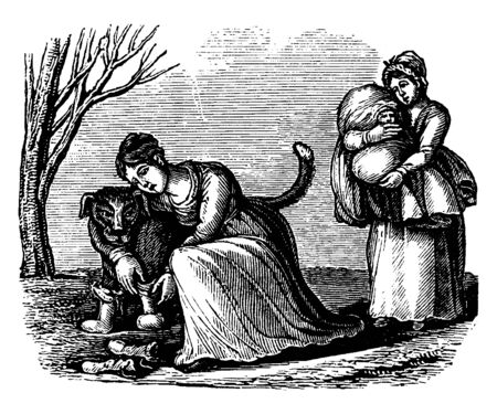 A woman hugging dog and another woman carrying baby, vintage line drawing or engraving illustration