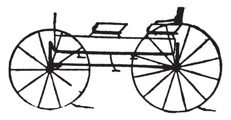 Four passenger wagon is the late styles of fashionable carriages and sleighs, vintage line drawing or engraving illustration. Illusztráció