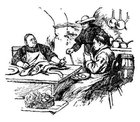 Monks sitting at table and working, vintage line drawing or engraving illustration Stock Illustratie