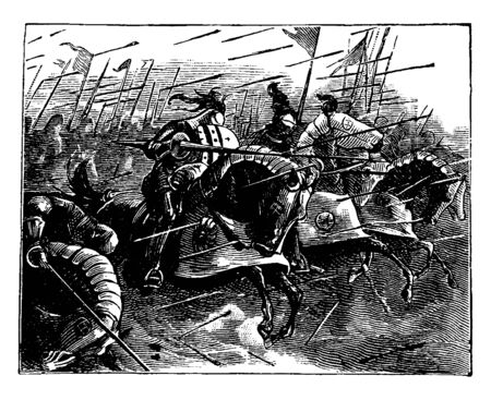 Group of knights charging on horseback with lances, vintage line drawing or engraving illustration Illusztráció